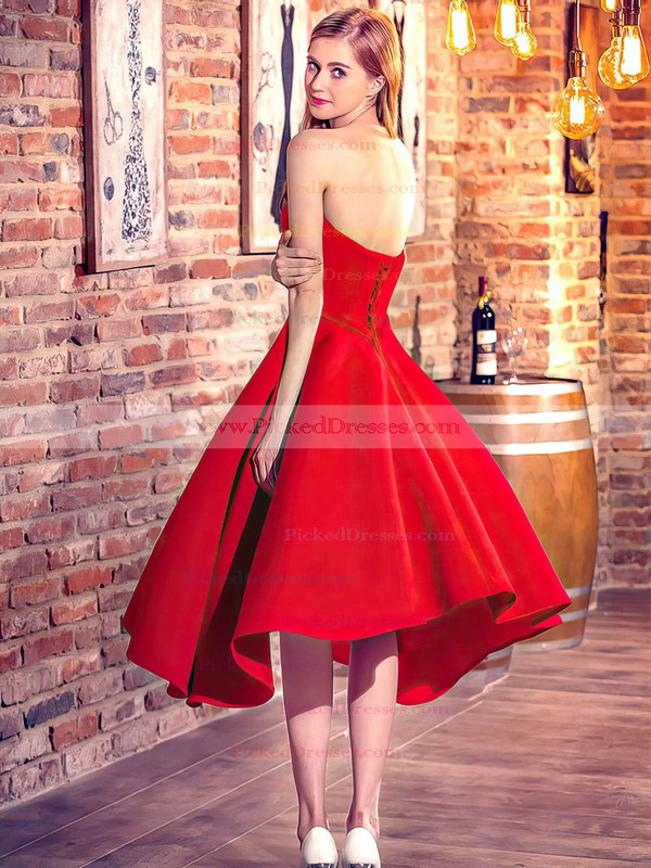 Classic Princess Sweetheart Satin Asymmetrical Ruffles Red High Low Bridesmaid Dresses #PDS010020103199