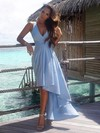 A-line V-neck Chiffon Asymmetrical Sashes / Ribbons High Low Informal Bridesmaid Dresses #PDS010020103203