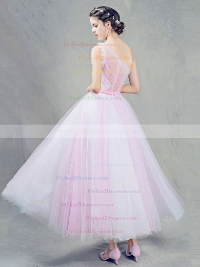 Ball Gown One Shoulder Tulle Ankle-length Sashes / Ribbons Pink Sweet Bridesmaid Dresses #PDS010020103243