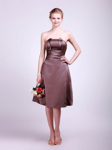 Satin A-line Straps Tea-length Sashes/Ribbons Bridesmaid Dresses #PDS01012013