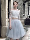 Girls Princess Off-the-shoulder Lace Tulle Knee-length Ruffles Two Piece 1/2 Sleeve Bridesmaid Dresses #PDS010020103308
