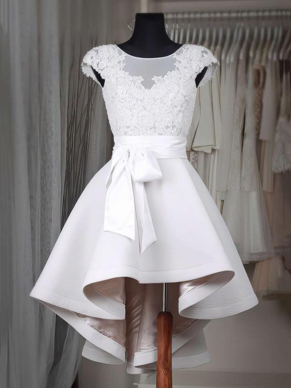 A-line Scoop Neck Satin Tulle Asymmetrical Appliques Lace Cap Straps High Low Original Bridesmaid Dresses #PDS010020103433
