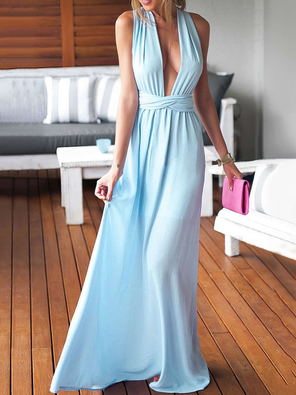 Sheath/Column V-neck Chiffon Floor-length Ruffles Blue Backless Sexy Bridesmaid Dresses #PDS010020103552
