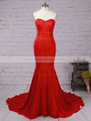 Top Trumpet/Mermaid Sweetheart Silk-like Satin Sweep Train Ruffles Red Backless Bridesmaid Dresses #PDS010020103568