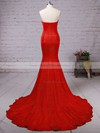 Top Trumpet/Mermaid Sweetheart Silk-like Satin Sweep Train Ruffles Red Backless Bridesmaid Dresses #PDS010020103568