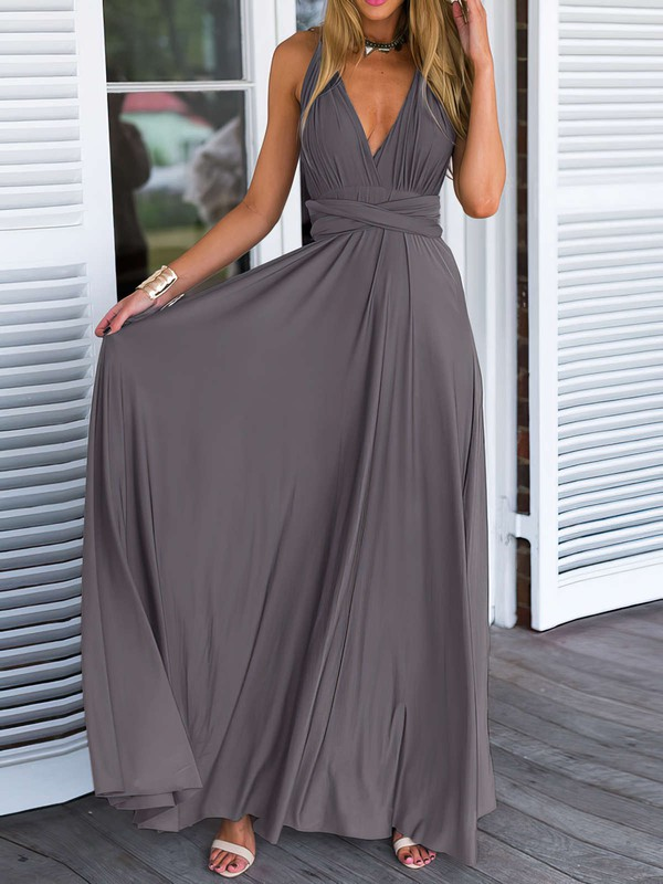A-line V-neck Chiffon with Ruffles Floor-length Backless Informal Bridesmaid Dresses #PDS010020103579