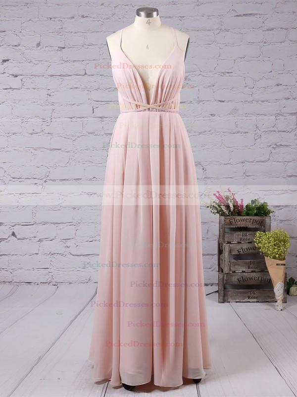 Sheath/Column V-neck Chiffon Floor-length Split Front Backless Hot Bridesmaid Dresses #PDS010020103583