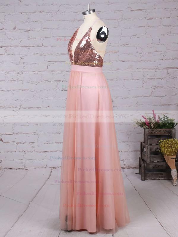 A-line V-neck Tulle Floor-length Split Front Backless Hot Bridesmaid Dresses #PDS010020103637