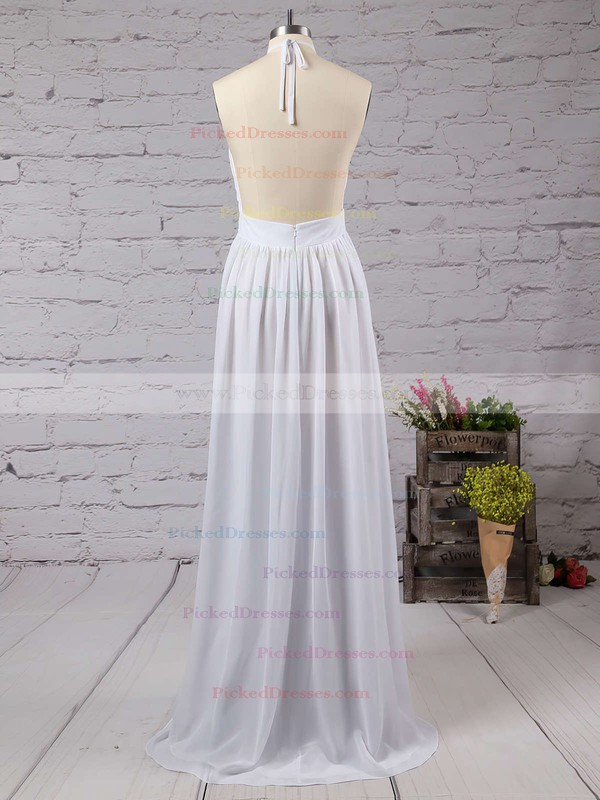 Summer A-line Halter Chiffon Floor-length Split Front Backless Bridesmaid Dresses #PDS010020103638