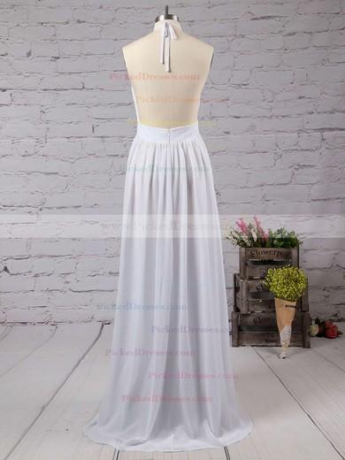 Summer A-line Halter Chiffon Floor-length Split Front Backless Bridesmaid Dresses #PDS010020103638