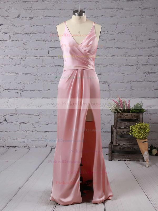 Sheath/Column V-neck Silk-like Satin Floor-length Split Front Backless Sexy Bridesmaid Dresses #PDS010020103662