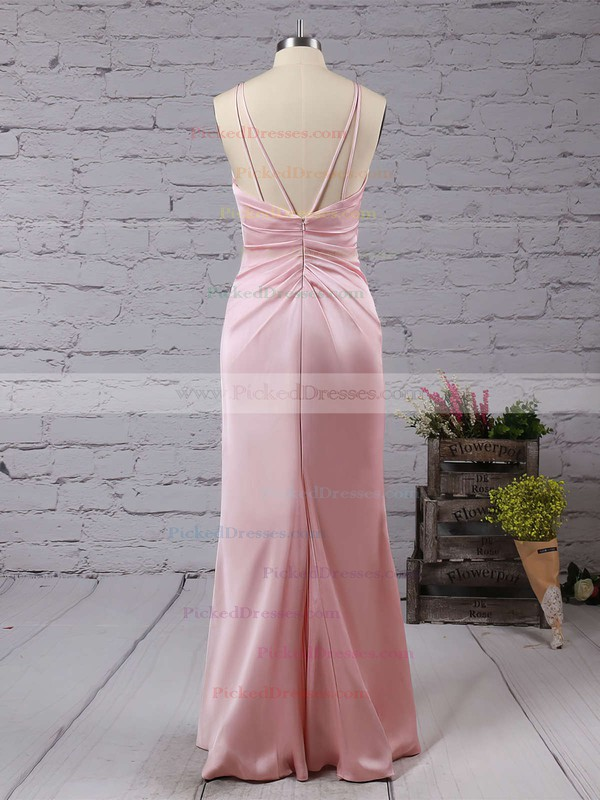 Sheath/Column V-neck Silk-like Satin Floor-length Split Front Backless Sexy Bridesmaid Dresses #PDS010020103662