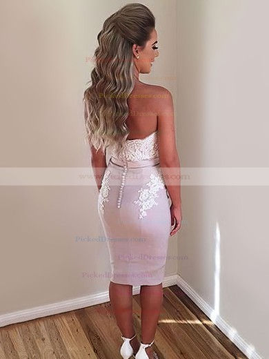 Sheath/Column Off-the-shoulder Silk-like Satin Knee-length Appliques Lace Different Bridesmaid Dresses #PDS010020103674