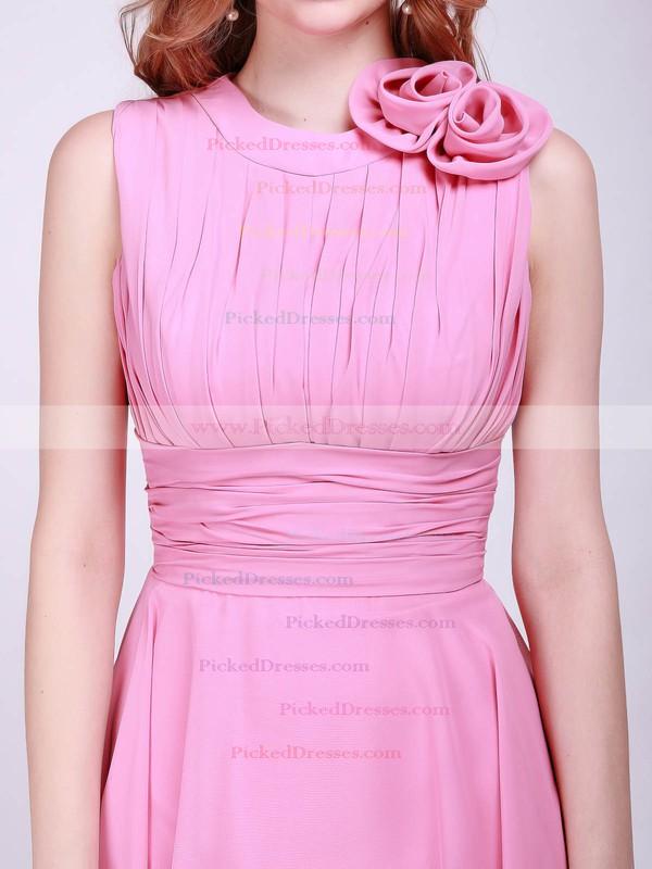 Chiffon A-line High Neck Knee-length Flower(s) Bridesmaid Dresses #PDS01012014