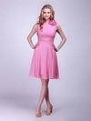 Chiffon A-line High Neck Knee-length Flower(s) Bridesmaid Dresses #PDS01012014