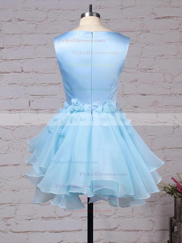 A-line Scoop Neck Satin Tulle Short/Mini Flower(s) Original Bridesmaid Dresses #PDS010020103777