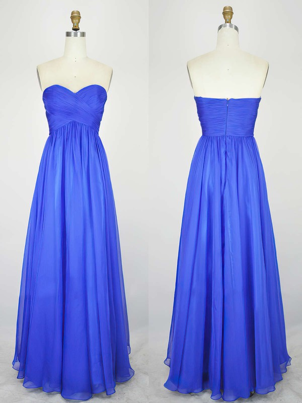 Empire Sweetheart Chiffon Floor-length with Pleats Bridesmaid Dresses #PDS010020104239