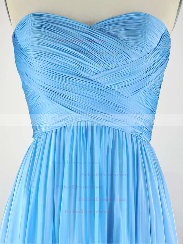 A-line Sweetheart Chiffon Sweep Train with Pleats Bridesmaid Dresses #PDS010020104304