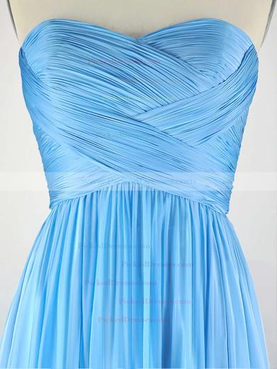 A-line Sweetheart Chiffon Sweep Train with Pleats Bridesmaid Dresses #PDS010020104304