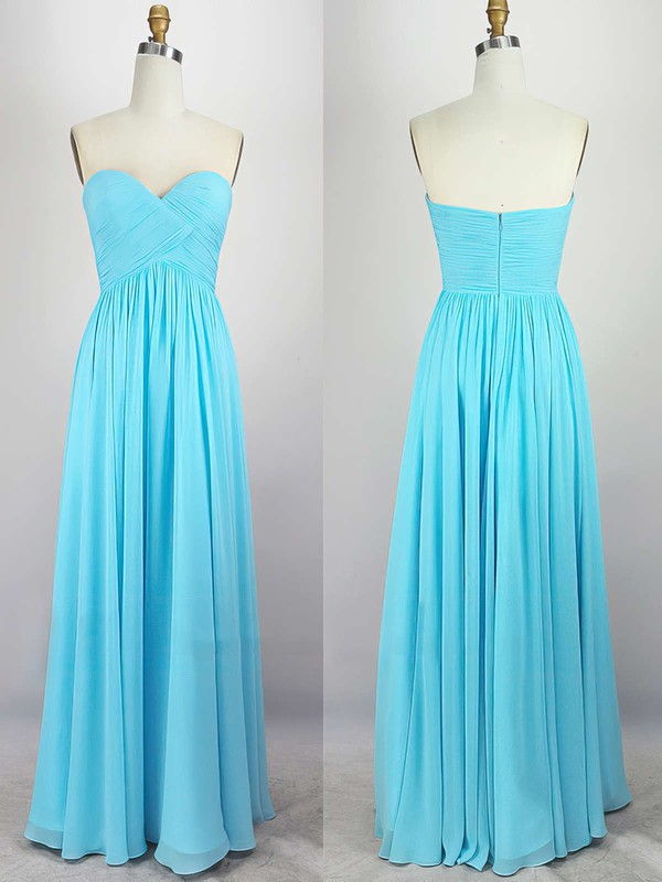 Empire Sweetheart Chiffon Floor-length with Pleats Bridesmaid Dresses #PDS010020104308