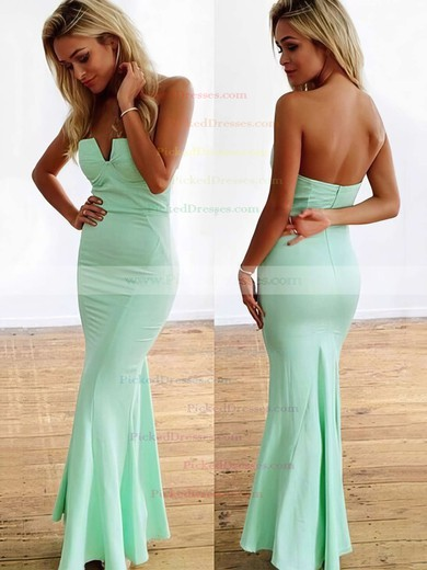 Trumpet/Mermaid Strapless Jersey Ankle-length with Ruffles Bridesmaid Dresses #PDS010020104418