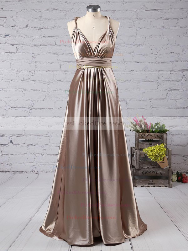 A-line V-neck Silk-like Satin Ankle-length with Ruffles Bridesmaid Dresses #PDS010020104433