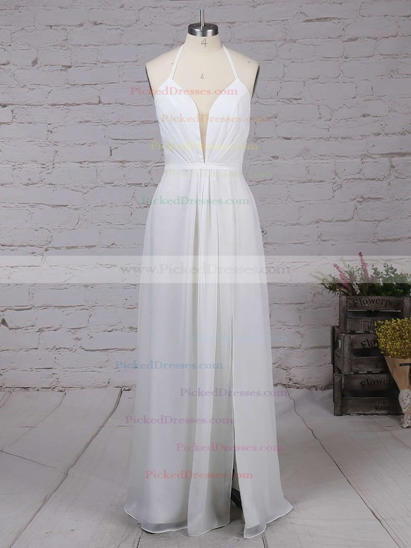A-line V-neck Chiffon Ankle-length with Split Front Bridesmaid Dresses #PDS010020104497