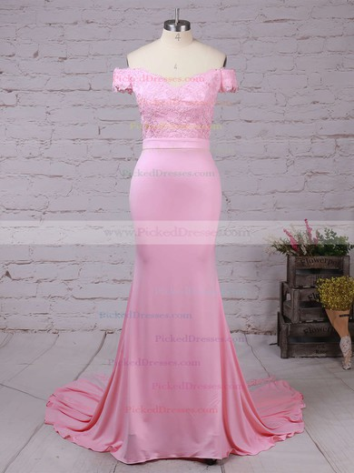 Trumpet/Mermaid Off-the-shoulder Tulle Silk-like Satin Sweep Train with Sashes / Ribbons Bridesmaid Dresses #PDS010020104517