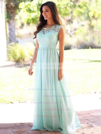Affordable A-line Scoop Neck Lace Chiffon Floor-length Bridesmaid Dresses #PDS010020104579