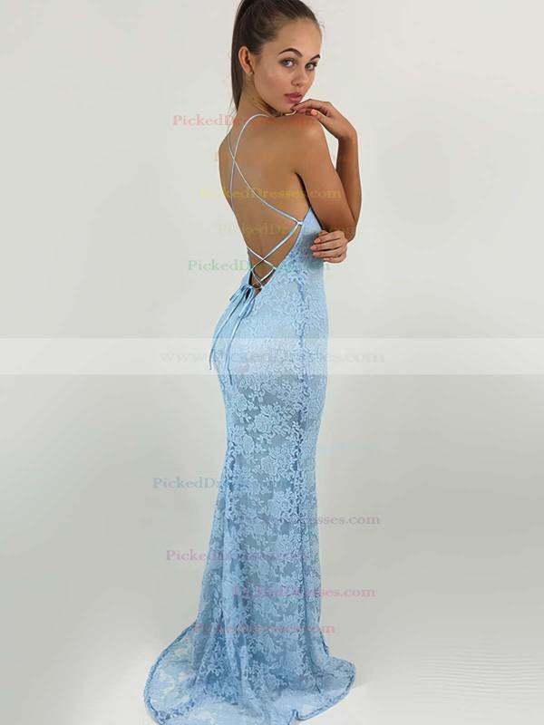 Sheath/Column Scoop Neck Lace Sweep Train Lace Bridesmaid Dresses #PDS010020104813