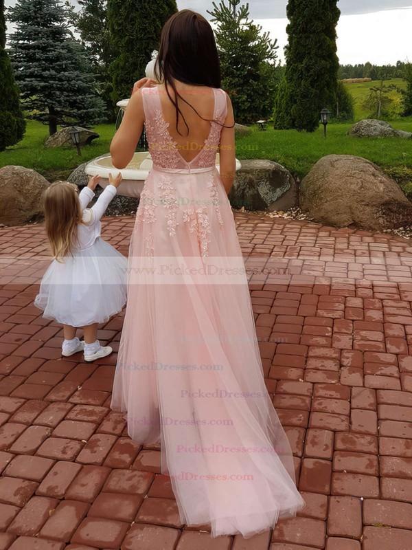 A-line V-neck Tulle Sweep Train Appliques Lace Bridesmaid Dresses #PDS010020105330