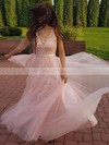 A-line V-neck Tulle Sweep Train Appliques Lace Bridesmaid Dresses #PDS010020105330