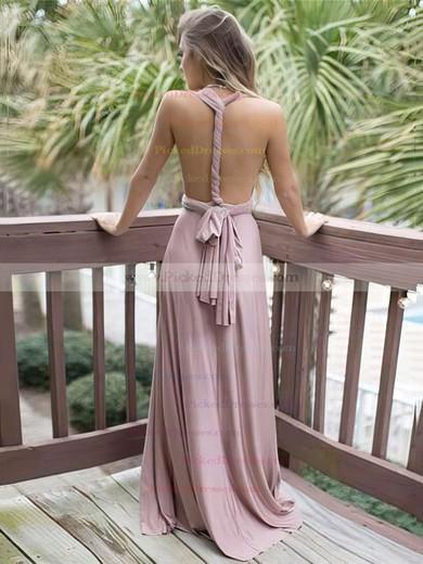 A-line V-neck Satin Chiffon Sweep Train Sashes / Ribbons Bridesmaid Dresses #PDS010020105349