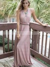A-line V-neck Satin Chiffon Sweep Train Sashes / Ribbons Bridesmaid Dresses #PDS010020105349