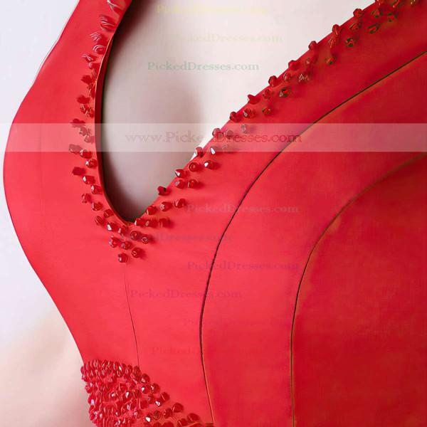 A-line V-neck Satin Asymmetrical Beading Bridesmaid Dresses #PDS010020105372