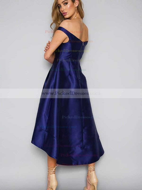 A-line Off-the-shoulder Satin Asymmetrical Pockets Bridesmaid Dresses #PDS010020105378