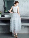 A-line Scoop Neck Lace Tulle Asymmetrical Tiered Bridesmaid Dresses #PDS010020105394