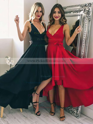 A-line V-neck Silk-like Satin Asymmetrical Sashes / Ribbons Bridesmaid Dresses #PDS010020105405