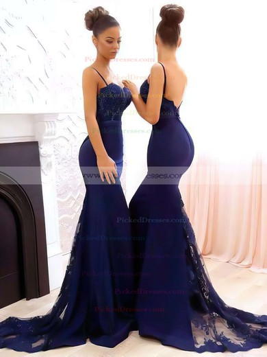 Trumpet/Mermaid Sweetheart Tulle Silk-like Satin Sweep Train Appliques Lace Bridesmaid Dresses #PDS010020105493