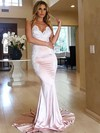 Trumpet/Mermaid V-neck Silk-like Satin Sweep Train Appliques Lace Bridesmaid Dresses #PDS010020105512