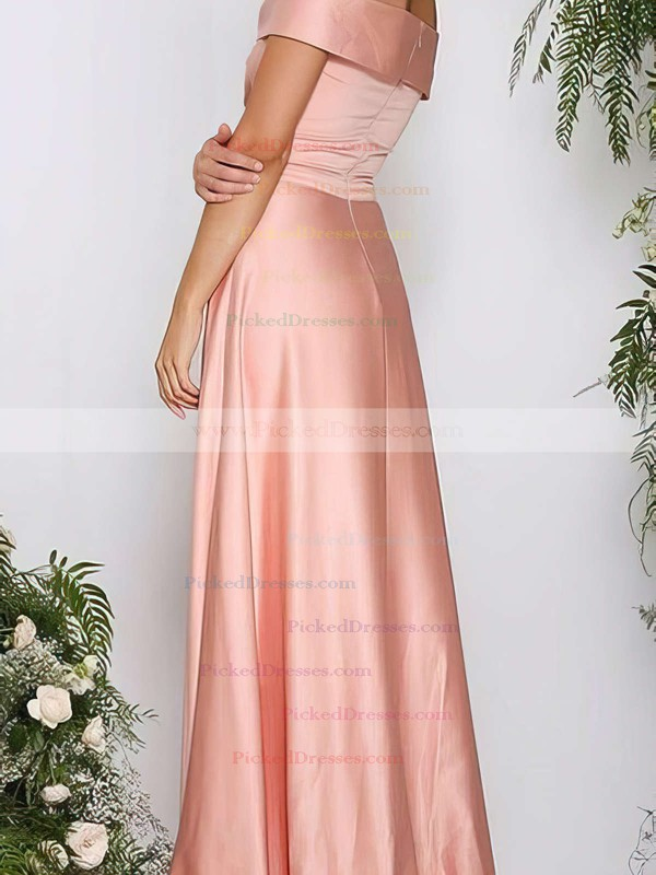A-line Off-the-shoulder Silk-like Satin Sweep Train Ruffles Bridesmaid Dresses #PDS010020105737