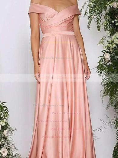 A-line Off-the-shoulder Silk-like Satin Sweep Train Ruffles Bridesmaid Dresses #PDS010020105737