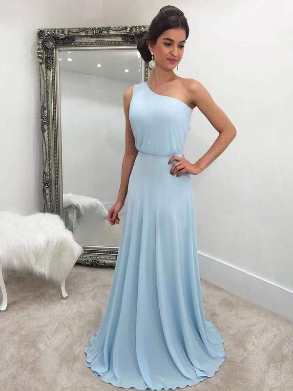 A-line One Shoulder Chiffon Sweep Train Bridesmaid Dresses #PDS010020105744