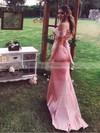 Sheath/Column V-neck Silk-like Satin Sweep Train Draped Bridesmaid Dresses #PDS010020105751