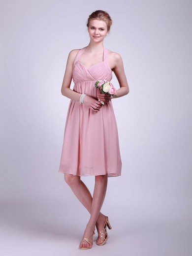 Chiffon A-line Halter Knee-length Ruffles Bridesmaid Dresses #PDS01012019