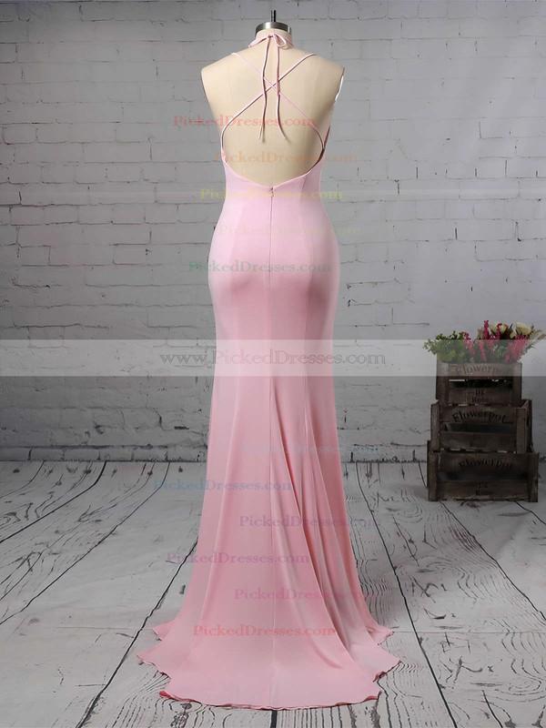 Trumpet/Mermaid V-neck Jersey Sweep Train Split Front Bridesmaid Dresses #PDS010020105765