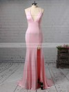 Trumpet/Mermaid V-neck Jersey Sweep Train Split Front Bridesmaid Dresses #PDS010020105765