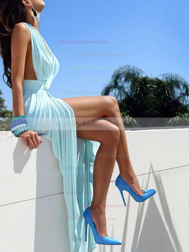 Sheath/Column V-neck Chiffon Floor-length Ruffles Bridesmaid Dresses #PDS010020105775