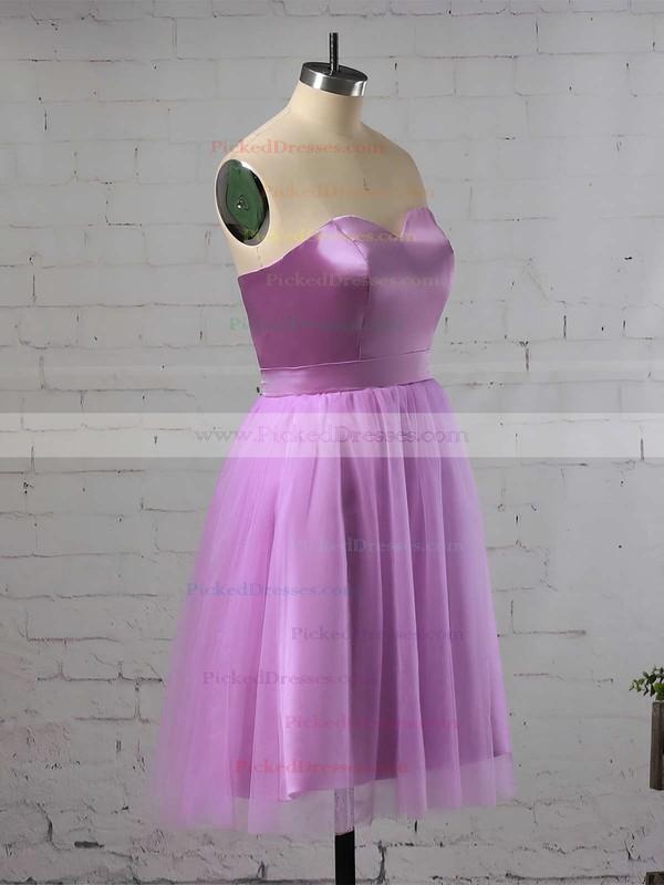 A-line Sweetheart Satin Short/Mini Ruffles Bridesmaid Dresses #PDS010020105931