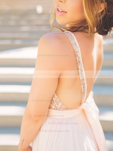 Ball Gown V-neck Tulle Sequined Sweep Train Sashes / Ribbons Bridesmaid Dresses #PDS010020106039